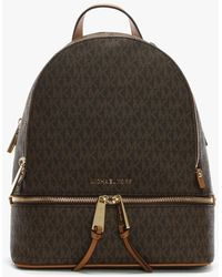 Michael Kors - Rhea Brown Logo Zip Fastening Backpack - Lyst