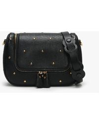 5420251c7b4 Anya Hindmarch - Small Hexagon Studs Vere Soft Black Leather Satchel Bag -  Lyst