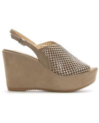 Donna Più - Taupe Suede Perforated Diamante Wedge Sandals - Lyst