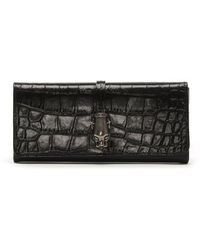 Class Roberto Cavalli - Daphne Black & Navy Leather Moc Croc Purse - Lyst