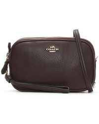 COACH - Polished Oxblood Pebbled Leather Cross-Body Clutch Bag - Lyst