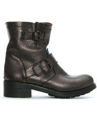 Manufacture D'essai - Bronze Pebbled Leather Biker Boots - Lyst