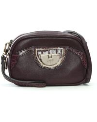 Class Roberto Cavalli - Coco Purple Leather Clutch Bag - Lyst