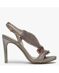 Daniel Averly Gold Metallic Satin Feather Embellished Evening Sandals