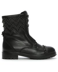 c45a8fb5e28 Public Desire Poison Over The Knee Foil Boots In Silver Metallic in ...