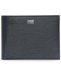 Class Roberto Cavalli | Men's Navy Leather Textured Wallet | Lyst