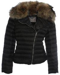 Daniel - Taupe Fur Trim Biker Jacket - Lyst
