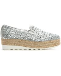 Donna Più - Sherlington Silver Leather Woven Flatform Espadrilles - Lyst