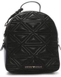 Emporio Armani - Zaino Quilted Black Backpack - Lyst