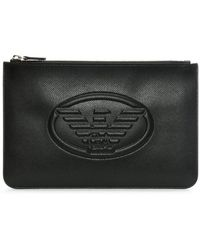 Emporio Armani - Black Textured Logo Envelope Pouch - Lyst