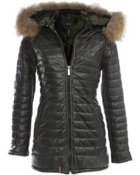 Oakwood - Popping Quilted Grey Leather Fur Trim Jacket - Lyst