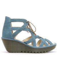 Fly London Yeli Blue Suede Caged Wedge Sandals