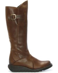 Fly London - Mol Camel Leather Low Wedge Knee Boots - Lyst