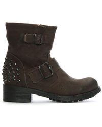 Manufacture D'essai | Brown Leather Studded Biker Boots | Lyst
