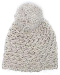 2fb54aca2c8 UGG - Women s Yarn Beige Pom Pom Beanie Hat - Lyst