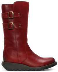 Fly London - Suli Red Leather Wedge Low Knee Boots - Lyst