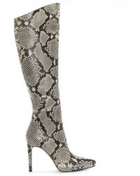 Daniel - Adoma Beige Reptile Platform Knee Boots - Lyst