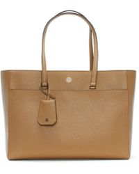 Tory Burch - Robinson Cardamom & Royal Navy Leather Tote Bag - Lyst