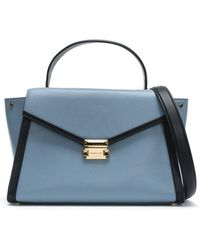 Michael Kors - Large Whitney Pale Blue & Admiral Leather Satchel Bag - Lyst