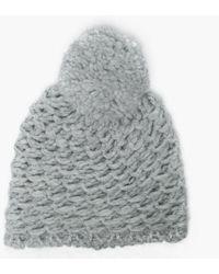 UGG - Women's Yarn Light Grey Pom Pom Beanie Hat - Lyst