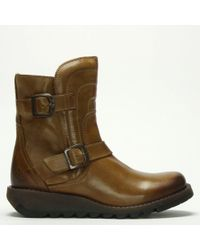 Fly London - Sven Camel Leather Low Wedge Buckled Ankle Boots - Lyst