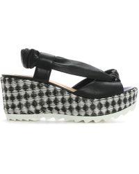 Donna Più - Black Leather Monochrome Woven Wedge Sandals - Lyst