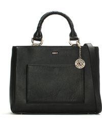 DKNY - Chelsea Medium Black Pebbled Leather Tote Bag - Lyst