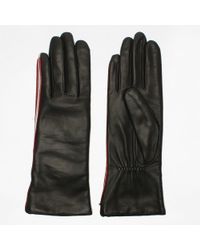 Agnelle - Coraline Black Leather Contrast Trim Gloves - Lyst