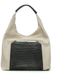 Class Roberto Cavalli - Orchid Black & Cream Leather Hobo Bag - Lyst