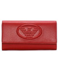 Emporio Armani - Red Textured Logo Continental Wallet - Lyst