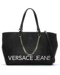 Versace Jeans - Large Set Black Logo Shopper - Lyst