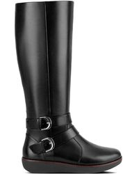 Fitflop - Noemi Black Leather Knee Boots - Lyst