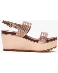 Moda In Pelle Pinchello Rose Gold Embellished Wedge Sandals - Pink