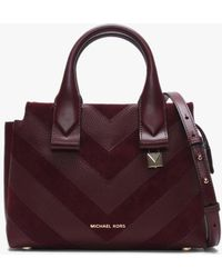 8da074a659fa Michael Kors - Small Rollins Oxblood Leather   Suede Chevron Satchel Bag -  Lyst