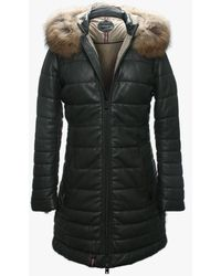 Oakwood Mary Luxe Khaki Leather Long Line Quilted Jacket - Negro