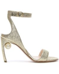 Nicholas Kirkwood - Lola 90 Pearl Gold Metallic Leather Ankle Strap Sand - Lyst