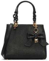 Michael Kors - Cynthia Black Leather Bow Satchel Bag - Lyst