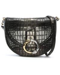 Class Roberto Cavalli - Night Dea Black Reptile Leather Shoulder Bag - Lyst