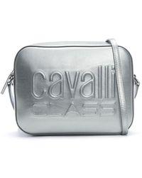 Class Roberto Cavalli - Nancy Silver Metallic Leather Logo Cross-body Bag - Lyst
