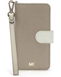 Michael Kors - Folio Oat Saffiano Leather Wristlet Iphone 7/8 Case - Lyst