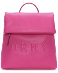 DKNY - Tilly Wildberry Leather Logo Backpack - Lyst