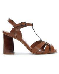 Lola Cruz - Curing Tan Leather T Bar Block Heel Sandals - Lyst