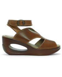 Fly London Hibo Camel Leather Ankle Strap Wedge Sandals