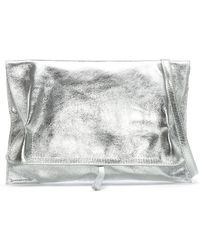 Daniel - Match Large Silver Leather Rouched Clutch Bag - Lyst