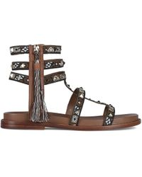 Ash - Miracle Brown Leather Studded Gladiator Sandals - Lyst