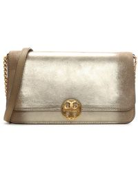 Tory Burch - Chelsea Convertible Gold Leather Clutch Bag - Lyst