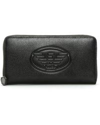 Emporio Armani - Black Textured Logo Zip Around Wallet - Lyst
