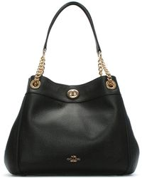 COACH - Turnlock Edie Black Polished Pebbled Leather Shoulder Bag - Lyst