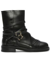 Cesare Paciotti - Lux Black Leather Double Buckle Biker Boots - Lyst