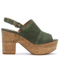 Daniel Footwear - Santander Khaki Suede Cork Platform Sandals - Lyst